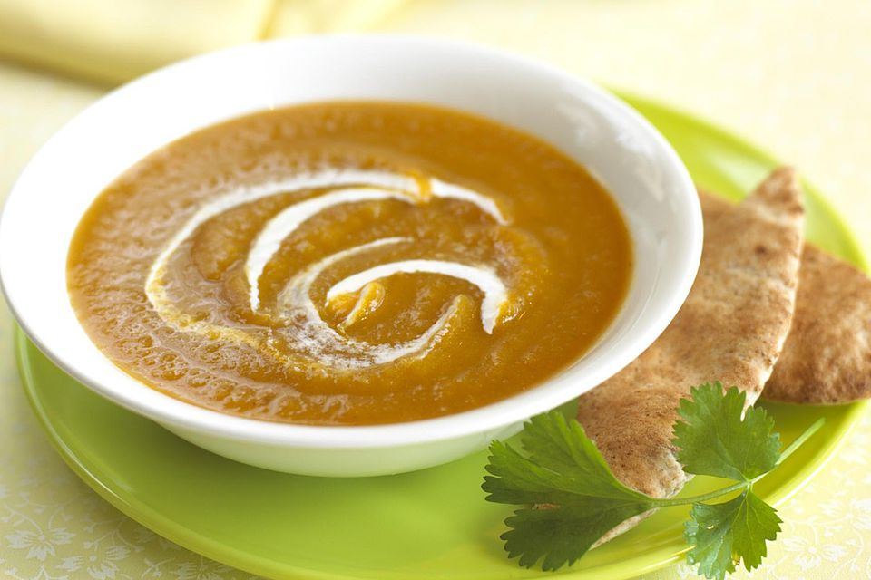 Bowl of curried carrot soup