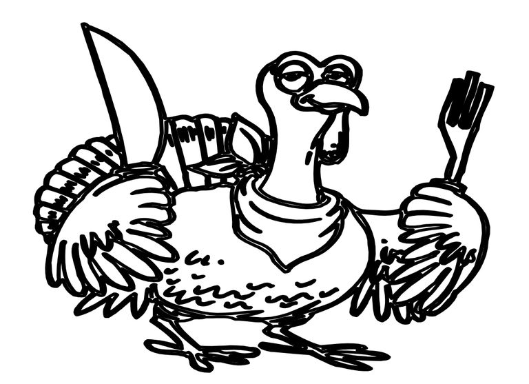 a turkey holding a knife and fork
