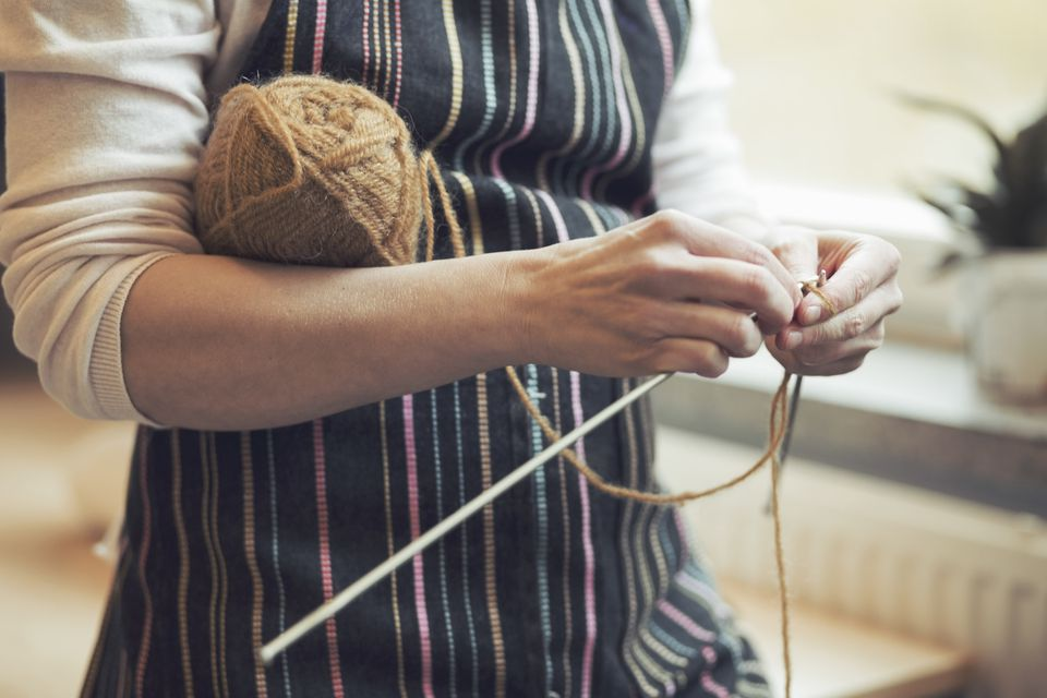 Woman cast on knitting