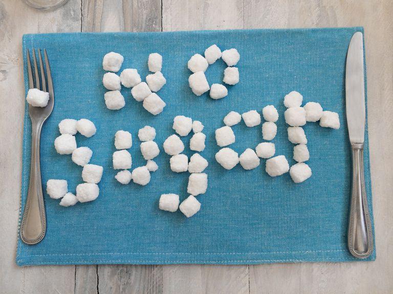 """No Sugar"" written in sugar cubes"
