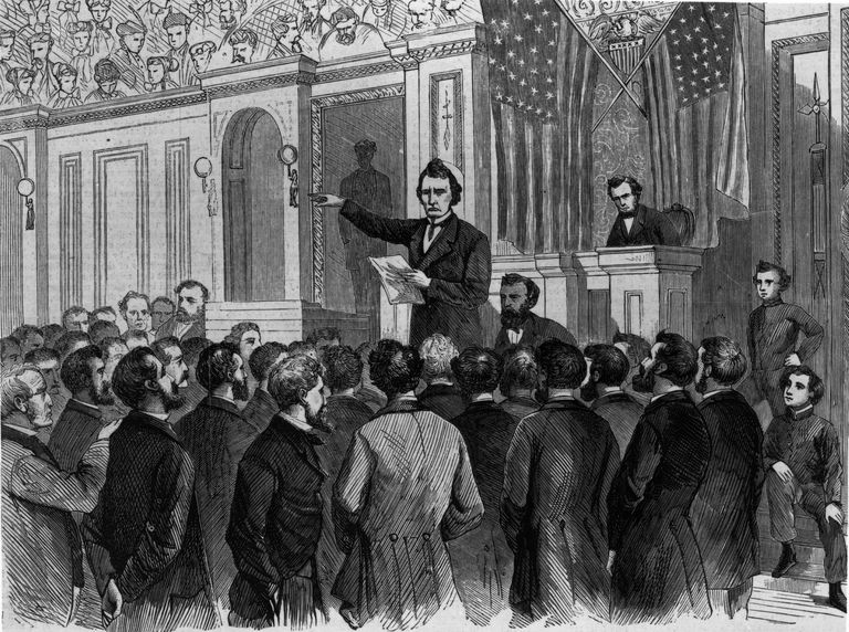 Illustration of Thaddeus Stevens speaking during Andrew Johnson's impeachment.