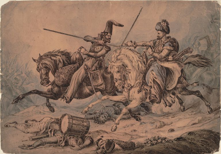 A Mamluk fights a Russian Cossack in 1815