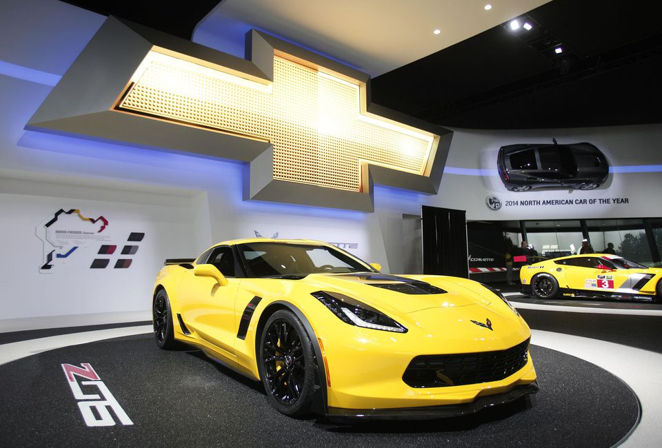 A Chevrolet Corvette Z06 is displayed at the press preview of the 2014 North American International Auto Show January 14, 2014 in Detroit, Michigan.