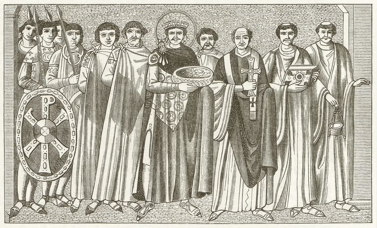 Emperor Justinian and Bishop Maximianus, after a mosaic in Ravenna