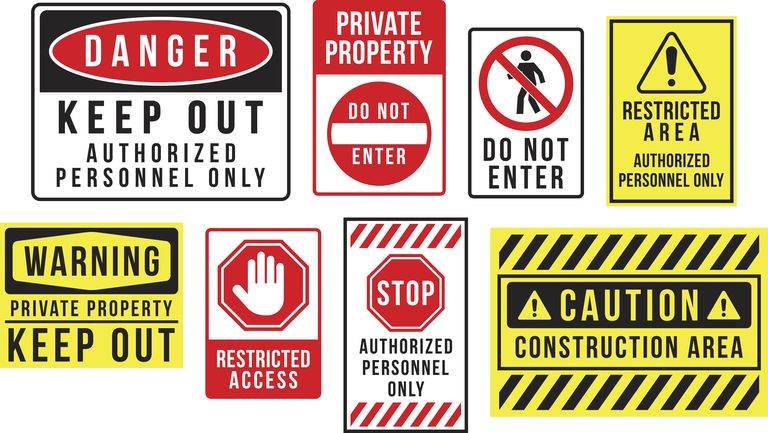 Image of caution danger and warning signs