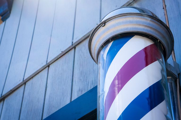 Red, white, and blue barber pole