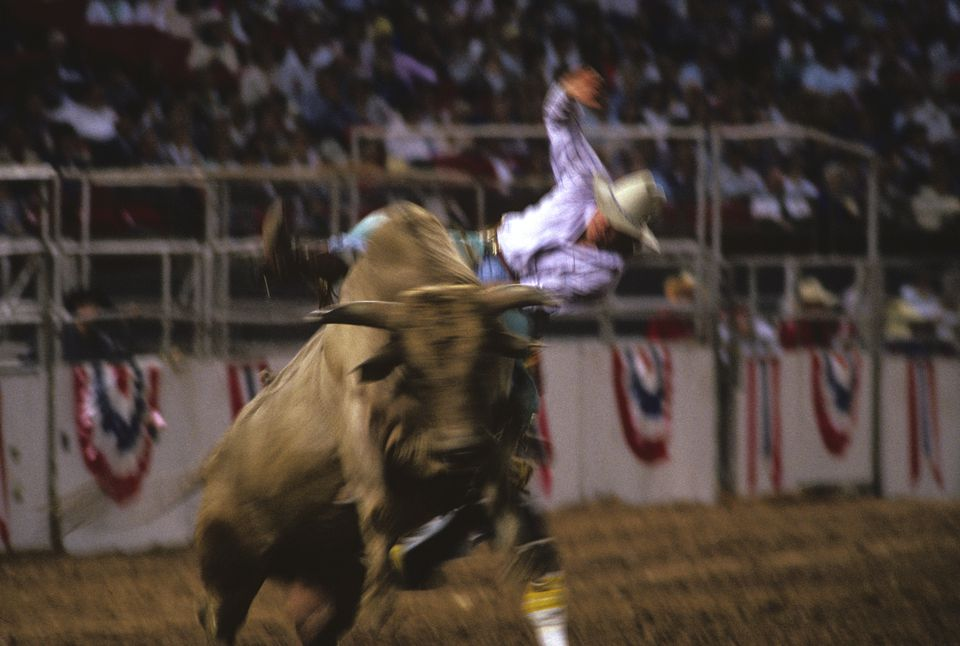 Bull riding contestant at the Houston Livestock Show and Rodeo, Houston, Texas (blurred motion).