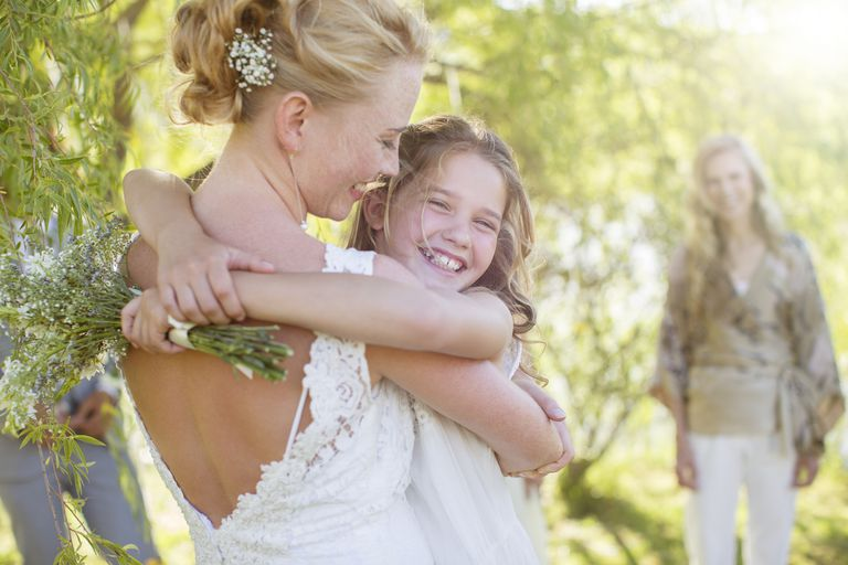 Bride and flower girl during wedding