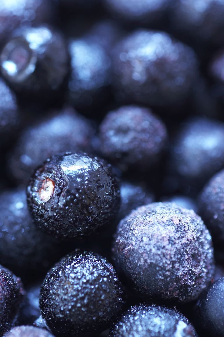 Close-up of frozen blueberries