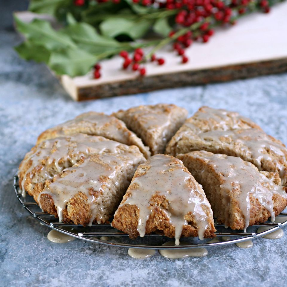 Ginger Spiced Scones with Vanilla Bean Glaze