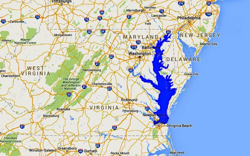 Maps of the chesapeake bay rivers and access points for Chesapeake bay fishing map