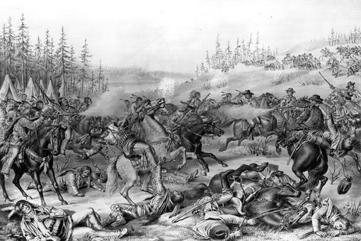 Illustration of the killing of Sitting Bull in 1890