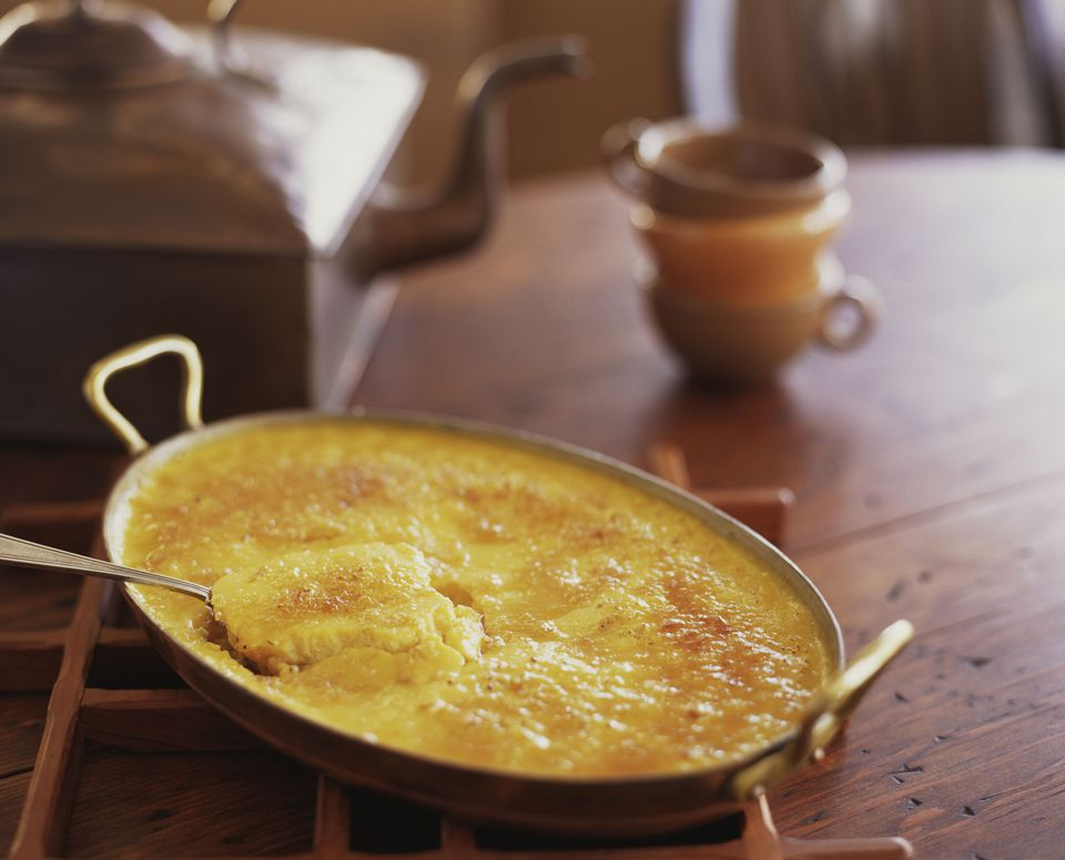 corn pudding in pan