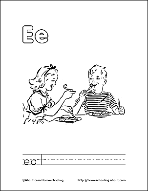 Letter E Coloring Book - Free Printable Pages
