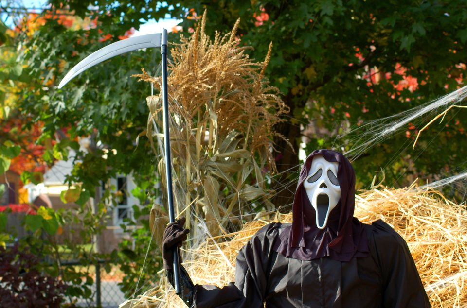 Grim Reaper (image) makes a scary Halloween decoration. The hay-pile background adds to effect.