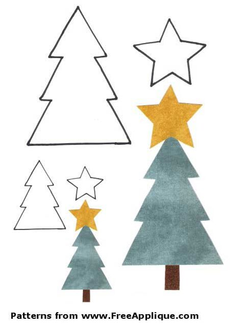 a christmas tree template with trees and stars free applique patterns - Free Christmas Trees