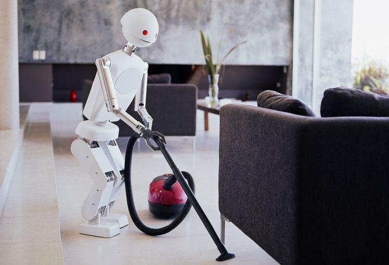 a robot vacuuming a living room