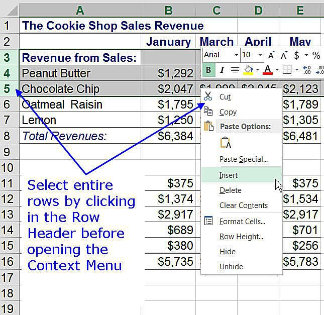 Add Rows to an Excel Worksheet using the Context Menu