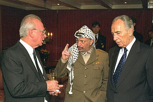 Yasser Arafat, Yitzhak Rabin, and Shimon Peres after they were awarded the 1994 Nobel Peace Prize.