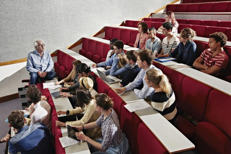 Students listening to teacher in class.