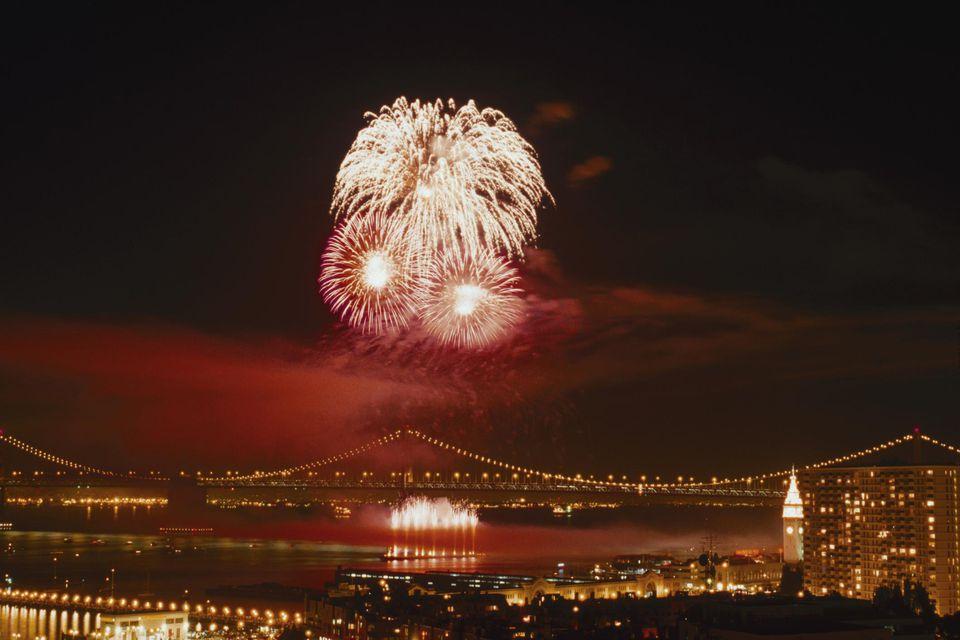 Fireworks by Bay Bridge, San Francisco, CA