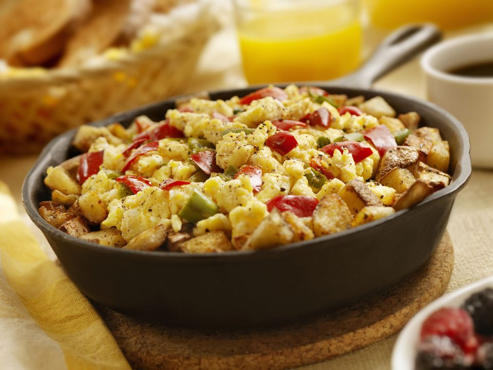 skillet with eggs, potato, and pepper
