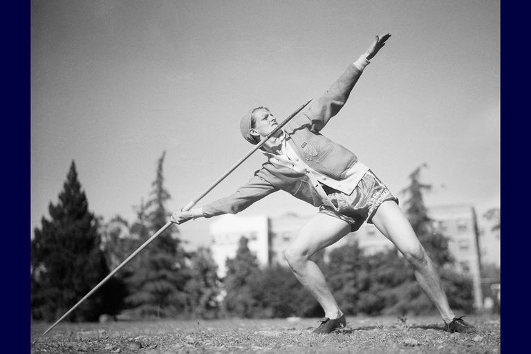 Babe Didrikson Throwing the Javelin