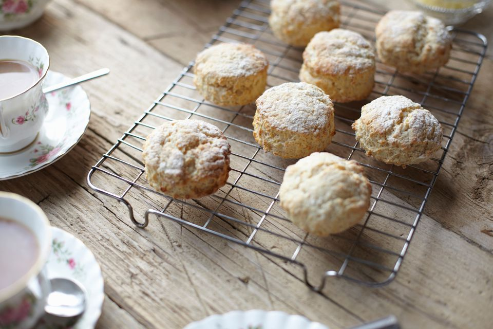 Table with fresh scones and tea