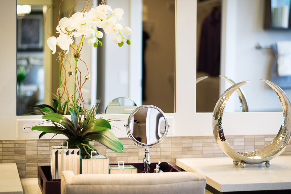 white orchid in bathroom