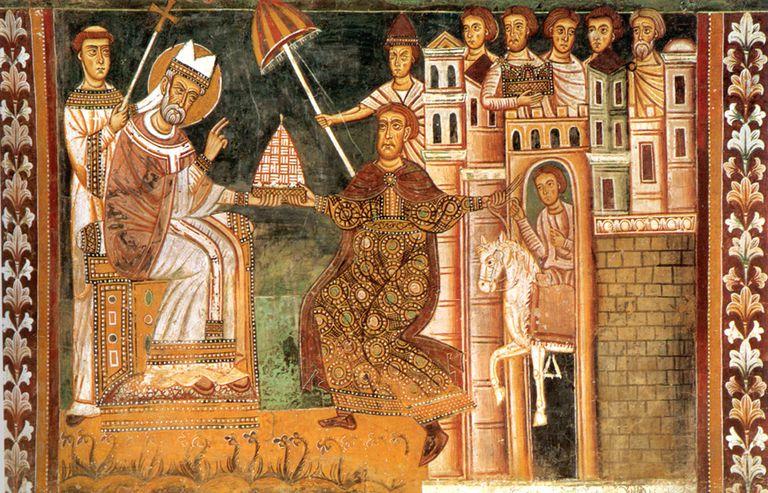 Fresco showing the donation
