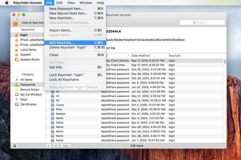 Adding Additional Keychains to your Mac