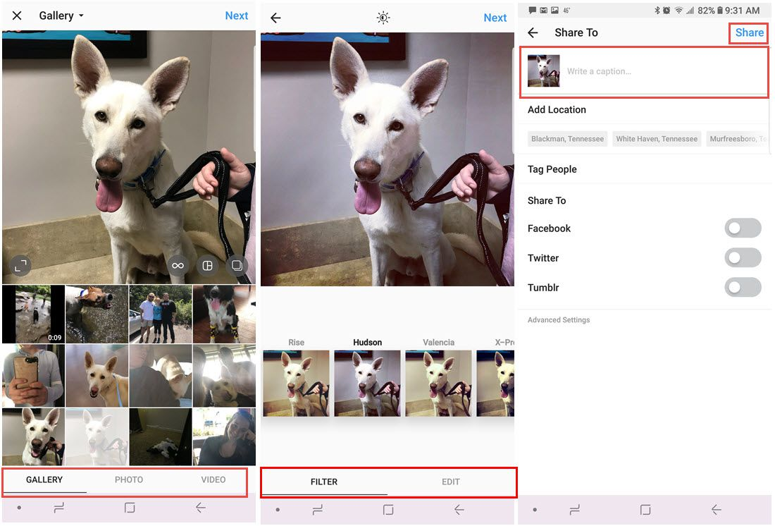 Screenshots from Instagram showing how to select images, apply filters, and share.
