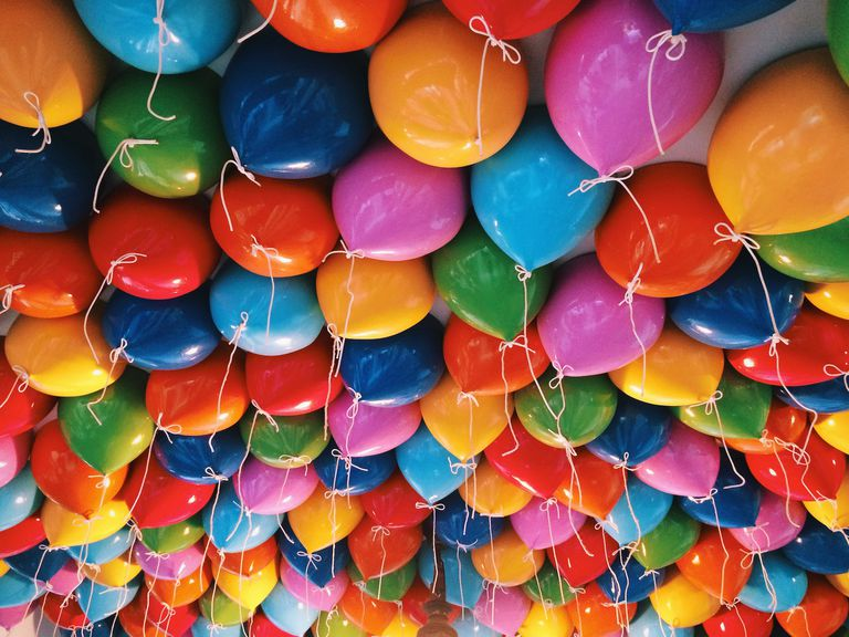 Full Frame Shot Of Colorful Helium Balloons Against Ceiling In Portaventura