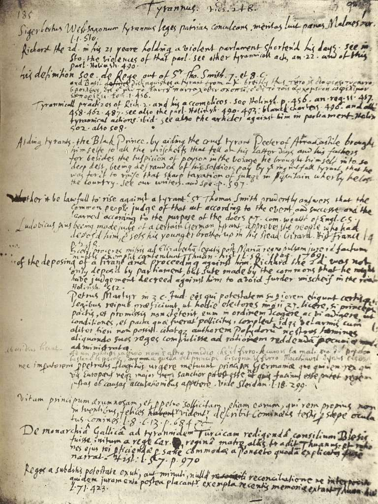 page from the Commonplace Book of English poet John Milton