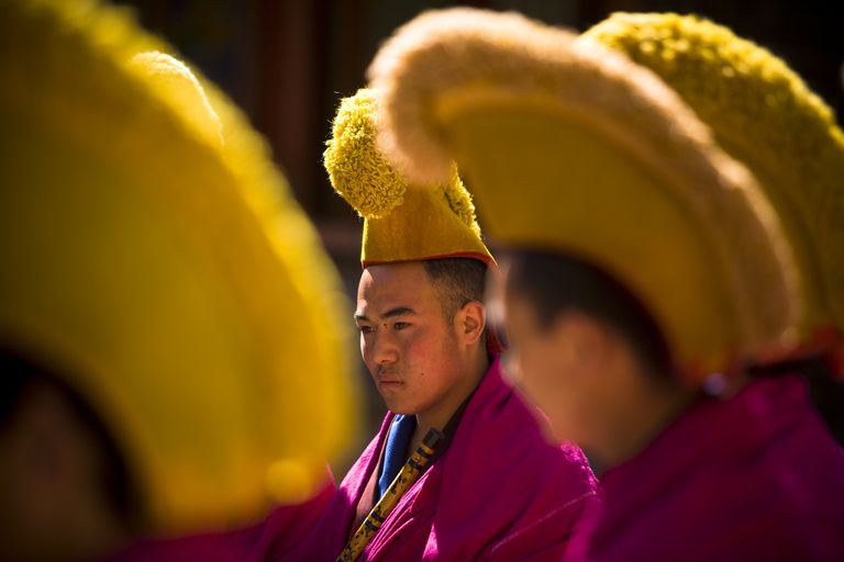 Gelugpa Monks With Yellow Hats