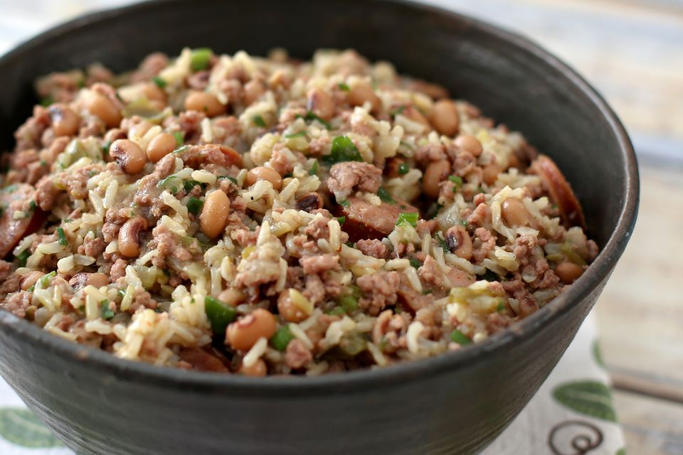 Jambalaya with Pork, Sausage, and Black-Eyed Peas