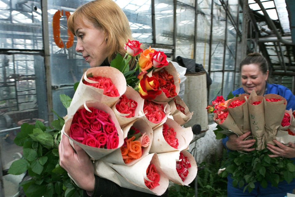 Women holding bouquets of roses