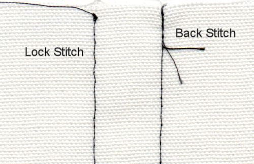A photo showing as completed lock stitch and completed back stitch