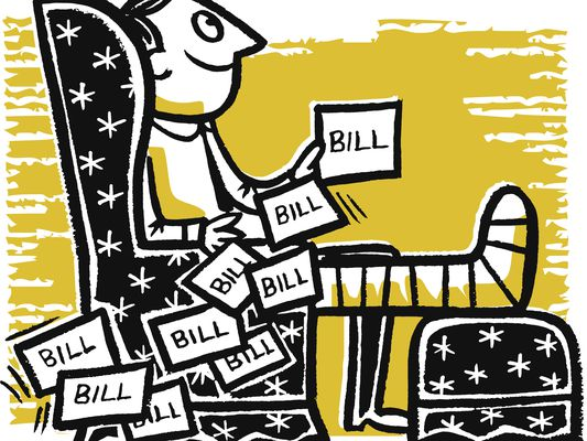Illustration of a man with a broken leg and a pile of bills