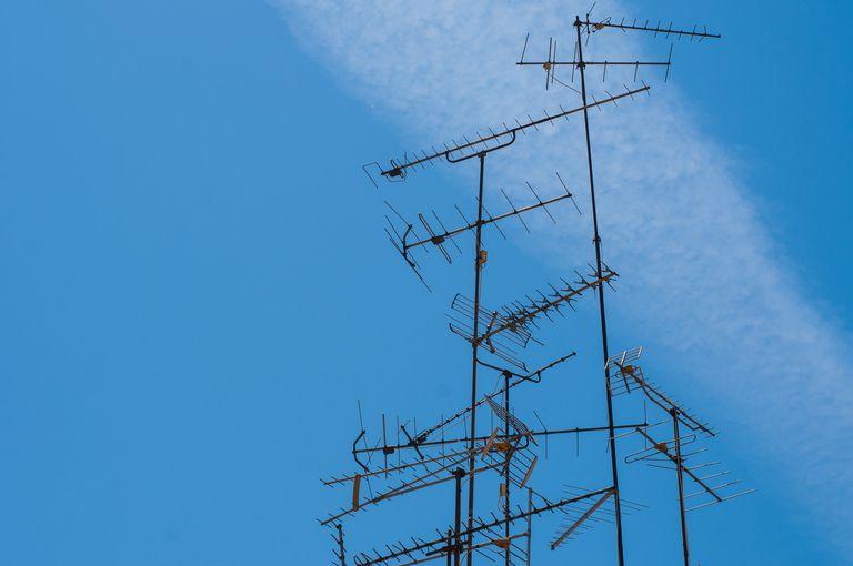 TV Antennas against Blue Sky