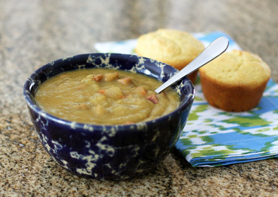 Pea Soup With Spicy Andouille Sausage