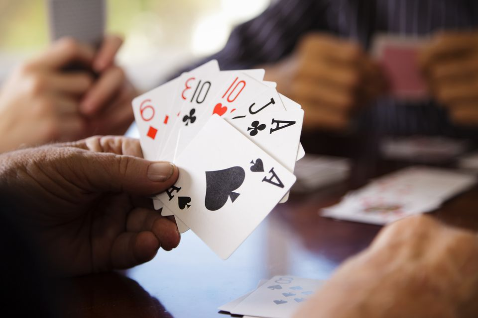 Close up of Gin Rummy Player's Hand