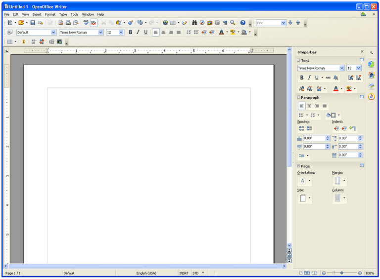 Screenshot of OpenOffice Writer in Windows XP