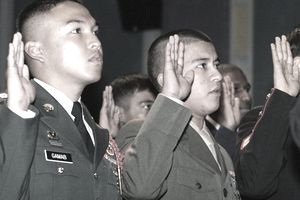 Gates Presides Over Naturalization Ceremony For Military Personnel