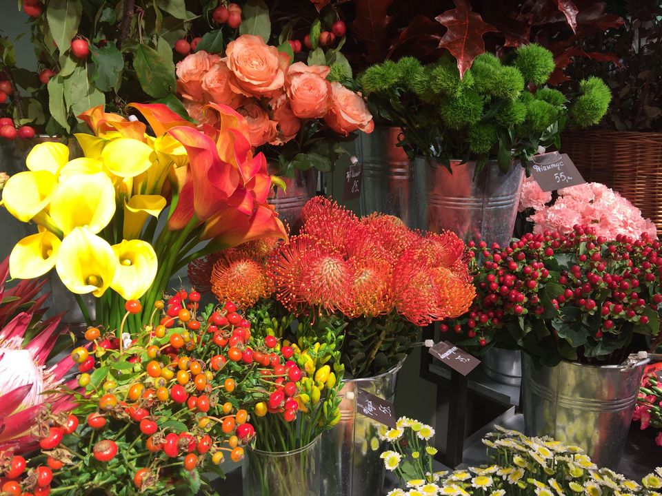 Protea, calla lilies, roses, and mums for sale at a flower market