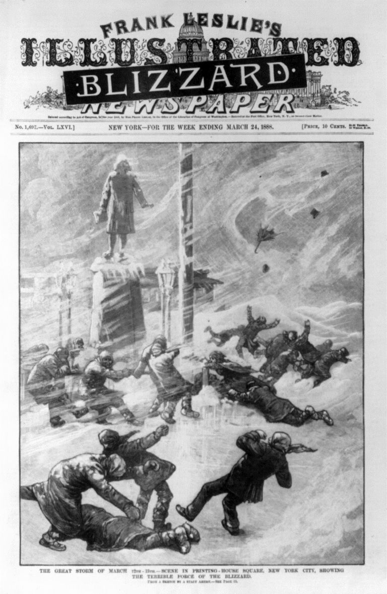 The Great Blizzard as depicted on the cover of an illustrated magazine in March 1888.