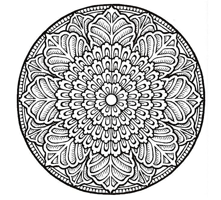 a floral mandala - Advanced Mandala Coloring Pages