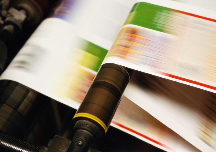 Printing press, close up, blurred motion
