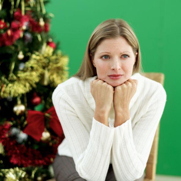 Sad woman & Christmas tree