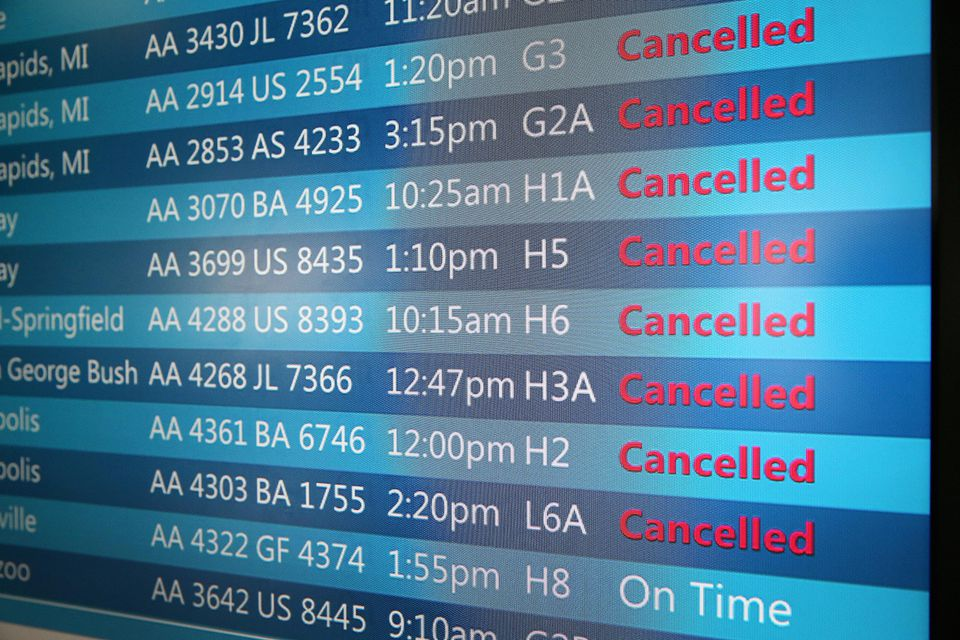 What does your carrier owe you if your trip is cancelled by weather?